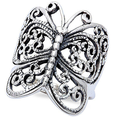 ANTIQUE FILIGREE STYLE BUTTERFLY .925 Sterling Silver Ring SIZES 4-13