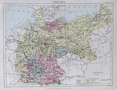 OLD ANTIQUE MAP GERMANY c1880's by W & A K JOHNSTON 19th CENTURY PRINTED COLOUR