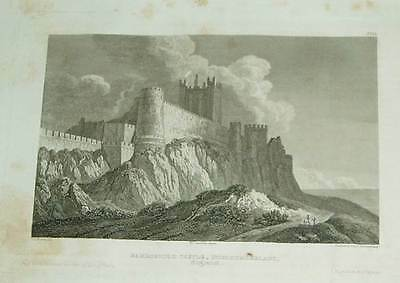Northumberland Bamborough Castle - Stahlstich 1833 steel engraving