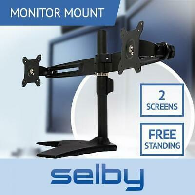 "Up to 24"" 12kg Dual 2 LCD Screen Monitor Desktop Freestanding Mount Stand VESA"