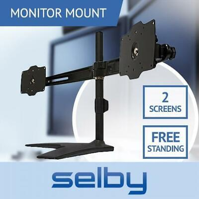 "Up to 27"" 15kg Dual Two 2 XL LCD Monitor Desktop Freestanding Mount VESA"