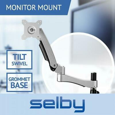 "Up to 24"" 10kg Tilt Swivel Arm LCD Monitor VESA Mount Bracket Desk Grommet Base"