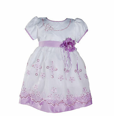 New Girls White and Lilac Floral Christening Party Pageant Dress 18-24 Months