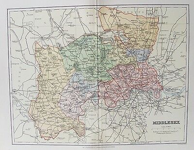 OLD ANTIQUE MAP MIDDLESEX c1880's by F S WELLER 19th CENTURY PRINTED COLOUR