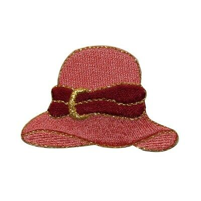 30be918b22701 ID 7593 Pink Bonnet Hat Patch Classic Fashion Cap Embroidered Iron On  Applique