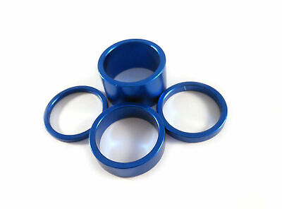 "Headset Spacer Set Anodised Aluminium 1-1/8"" x 35mm Blue Prestine PT67A"