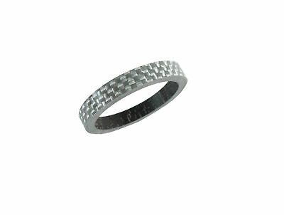 """Carbon Headset Spacer 5mm x 1-1/8"""" White/Silver x 35mm 3k Weave Gloss Dorcus"""