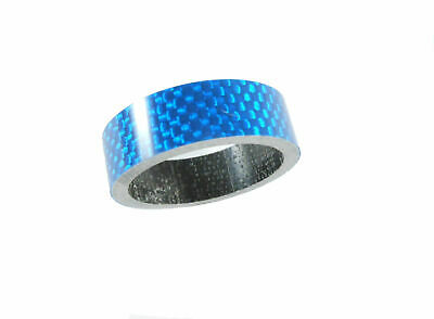 "Carbon Headset Spacer 10mm x 1-1/8"" Blue x 35mm 3k Weave Gloss Dorcus"