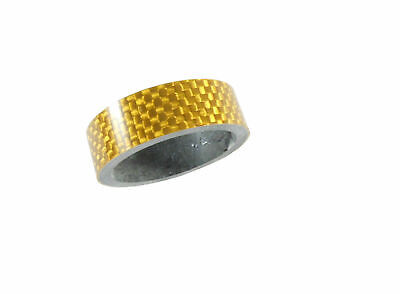 "Carbon Headset Spacer 10mm x 1-1/8"" Gold x 35mm 3k Weave Gloss Dorcus"