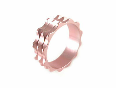 """Headset Spacer 1-1/8"""" x 10mm Anodised Pink Serrated Dorcus"""