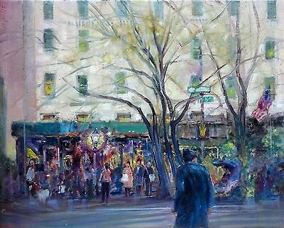 Across from Plaza Hotel, New York City 16x20 in. Oil on canvas Hall Groat Sr.