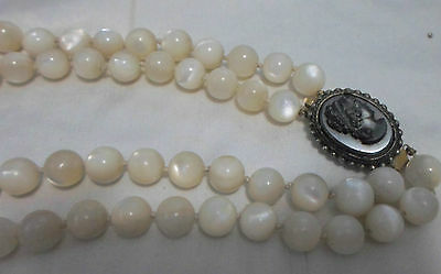 Vintage Mother Of Pearl Necklace W/cameo Clasp Elegant