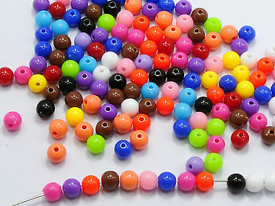 """500 Mixed Bubblegum Color Acrylic Round Beads 6mm(0.24"""") Smooth Ball"""