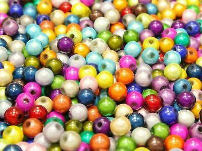 200 Mixed Color 3D Illusion Miracle Round beads 6mm Spacer Craft DIY