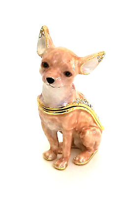 Kingspoint Starlight Chihuahua Dog  Pewter Bejeweled Hinged Trinket