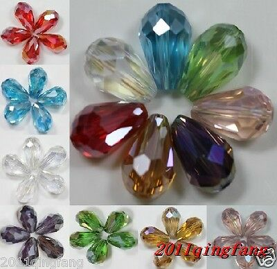Free Shipping!30/50pcs 8 color water drop crystal glass beads 15x10mm