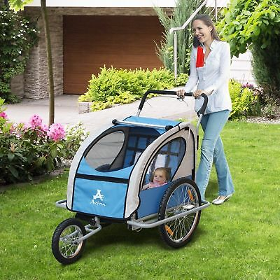 2 IN1 Double Baby Bike Trailer Folding Stroller Jogger Bicycle Blue