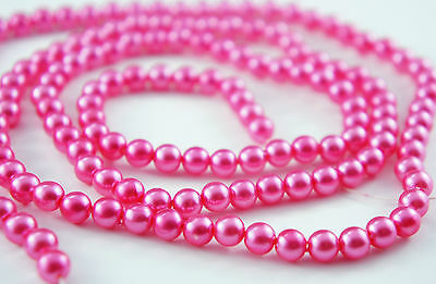 140pcs 6mm Deep Pink Color Imitation Acrylic Round Loose Pearl Beads Spacer