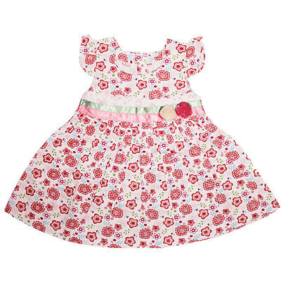 New Baby Girls Red Floral Cotton Party Dress 6-9,9-12 Months