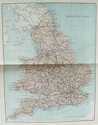 OLD ANTIQUE MAP ENGLAND & WALES UK c1859 19th CENTURY PRINTED COLOUR