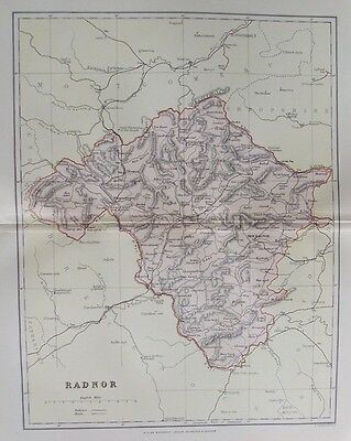 OLD ANTIQUE MAP RADNOR WALES c1880's by WELLER Pub MACKENZIE PRINTED COLOUR