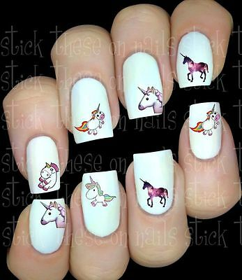 LICORNE UNICORN Fantasy stickers autocollant ongles manucure nail water decal