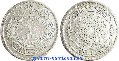 Syrie  ,  10  Piastres  Argent 3 ,  1929