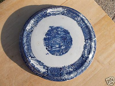 Vintage Blue and White Pottery Trivet - Marked