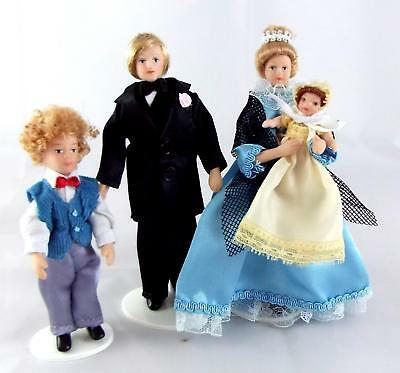 Dolls House Miniature 1:12 Scale Victorian Family of 4 Poseable Porcelain People