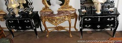 Pair Black Lacquer French Bombe Commodes Chest Drawers