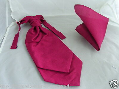 (GG) Raspberry Rose MENS Ruche Tie-Cravat & Hankie Set-More U Buy> More $ U Save