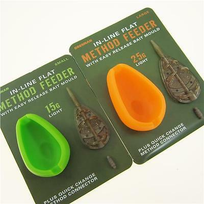 FTD- DRENNAN In Line Flat Method Feeders (Small & Large) Easy Release Bait Mould