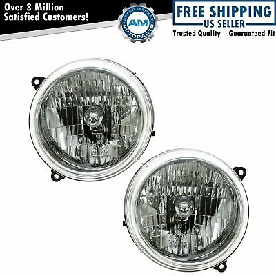 Headlights Headlamps Left & Right Pair Set NEW for 02-04 Jeep Liberty