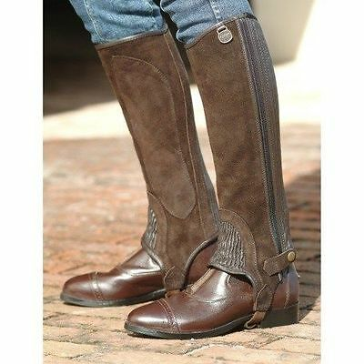 Ovation Ribbed Suede Leather Half Chaps - Adult - Black & Brown - All Sizes