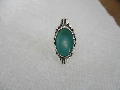 """Knuckle Ring Oval Blue Green Stone Silver Band 1.25"""" Wide Vintage Size 4"""