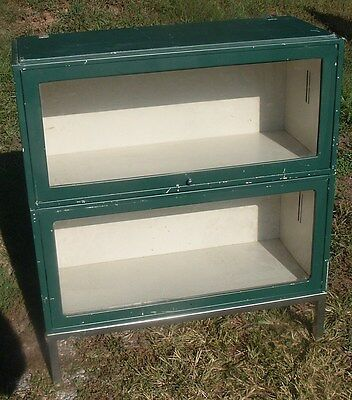 Vintage Steel Metal Stacking Barrister Book Case 2 Section & Base Mid-Century