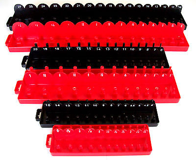168pc GOLIATH INDUSTRIAL SOCKET TRAY RACK RAIL HOLDERS RED/BLACK DEEP SHALLOW