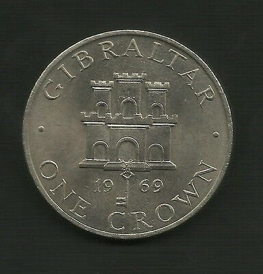 1969 GIBRALTAR One Crown Coin With Castle and Key
