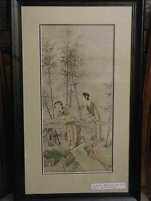Antique Chinese Painting On Silk Early 20 th Century Two Women Framed