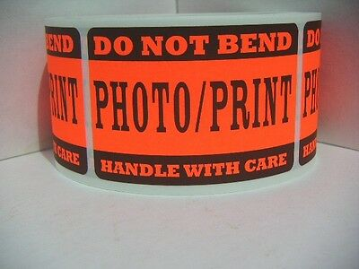 DO NOT BEND PHOTO/PRINT HANDLE WITH CARE red fluor 2x3 label sticker 250/rl