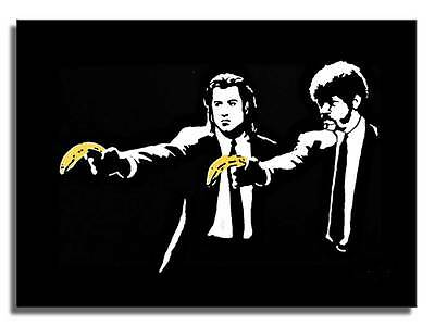 BANKSY - PULP FICTION BANANA Canvas Art Print Graffiti Street Poster 12x8""