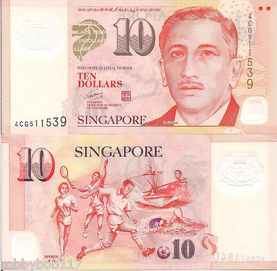 SINGAPORE $10 Dollars Banknote World Money UNC Currency Asia Bill Sport Note p48