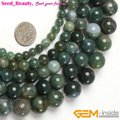Natural Gemstone Green Moss Agate Stone Jewelry Making Beading Beads Strand 15""