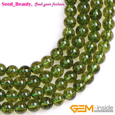"""Natural Peridot Gemstone Loose Beads Strand 15"""" Round Smooth Dyed Green Color"""