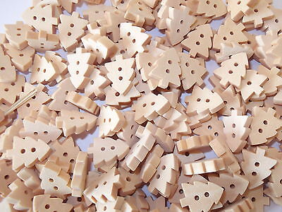 60 x XMAS TREE 2 HOLE WOODEN SEWING BUTTONS, SCRAPBOOKING, CRAFT ETC.,