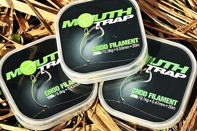 Korda NEW Carp Fishing Mouthtrap Stiff Chod Rig Filament  *All Breaking Strains*