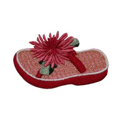 63b4b87322c2 ID 7824 Pink Flower Flip Flop Patch Sandal Fashion Embroidered Iron On  Applique