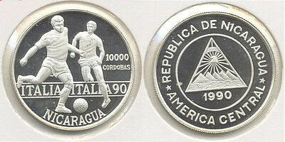 1990 Nicaragua Large Silver Proof 10000 Cordoba-World Cup Soccer