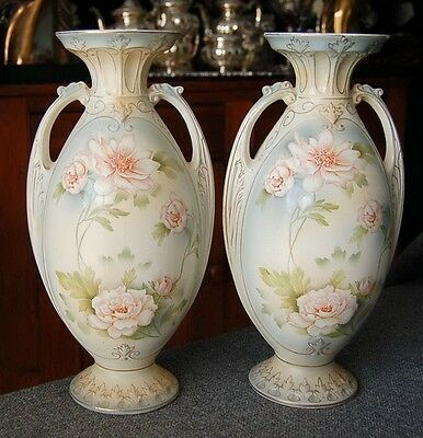 Gorgeous Pair Of Sanford Ware England Pink Wht Floral Matching 2 Handle Urn Pair
