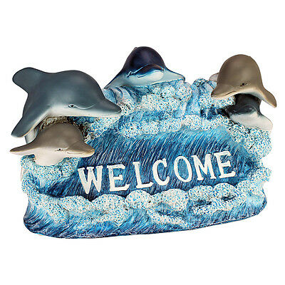 Dancing In Waves Dolphins Welcome Garden Beach House Sculpture Outdoor Statue